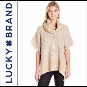 Lucky Brand Poncho Sweater Fringe Cream Size XS